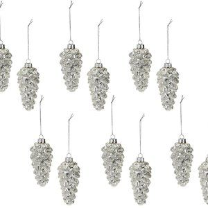 Set of 12 Frosted Glitter Pinecone Ornaments
